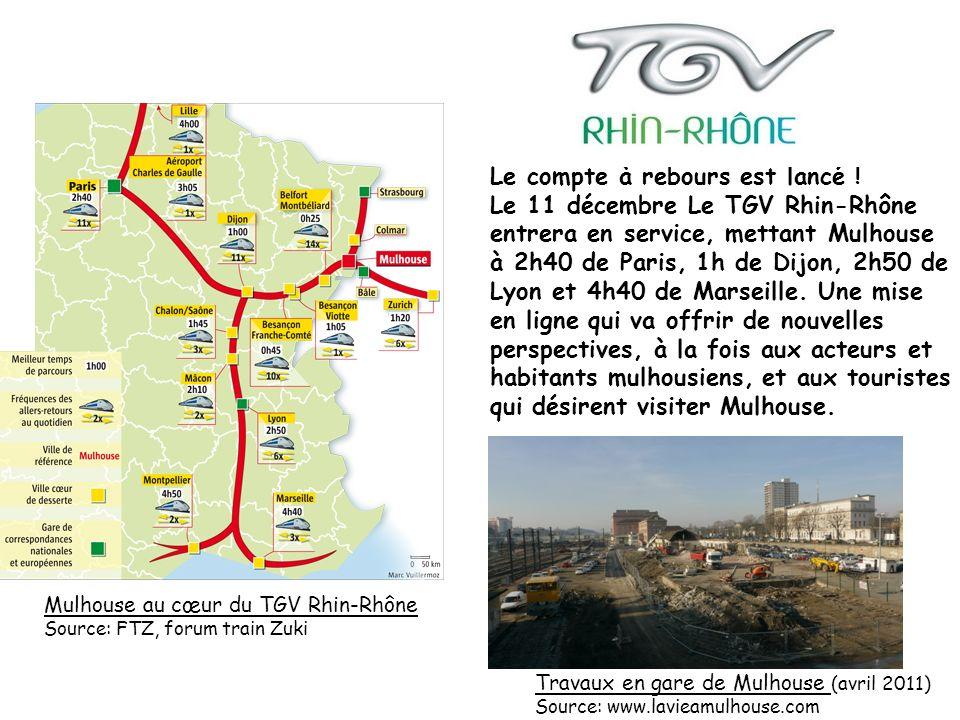 Le compte à rebours est lancé ! Le 11 décembre Le TGV Rhin-Rhône entrera en service, mettant Mulhouse à 2h40 de Paris, 1h de Dijon, 2h50 de Lyon et 4h