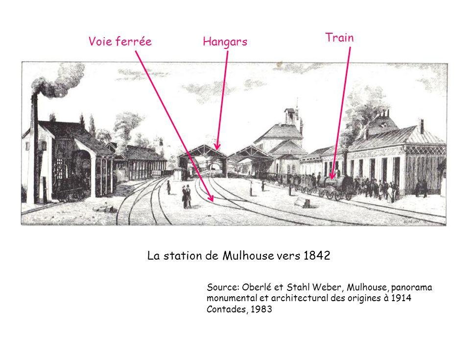 La station de Mulhouse vers 1842 Source: Oberlé et Stahl Weber, Mulhouse, panorama monumental et architectural des origines à 1914 Contades, 1983 Voie