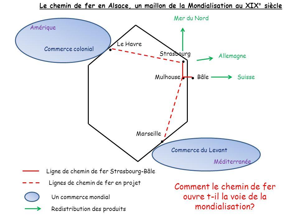 Strasbourg MulhouseBâle... Ligne de chemin de fer Strasbourg-Bâle.. Le Havre Marseille Lignes de chemin de fer en projet Commerce du Levant Méditerran