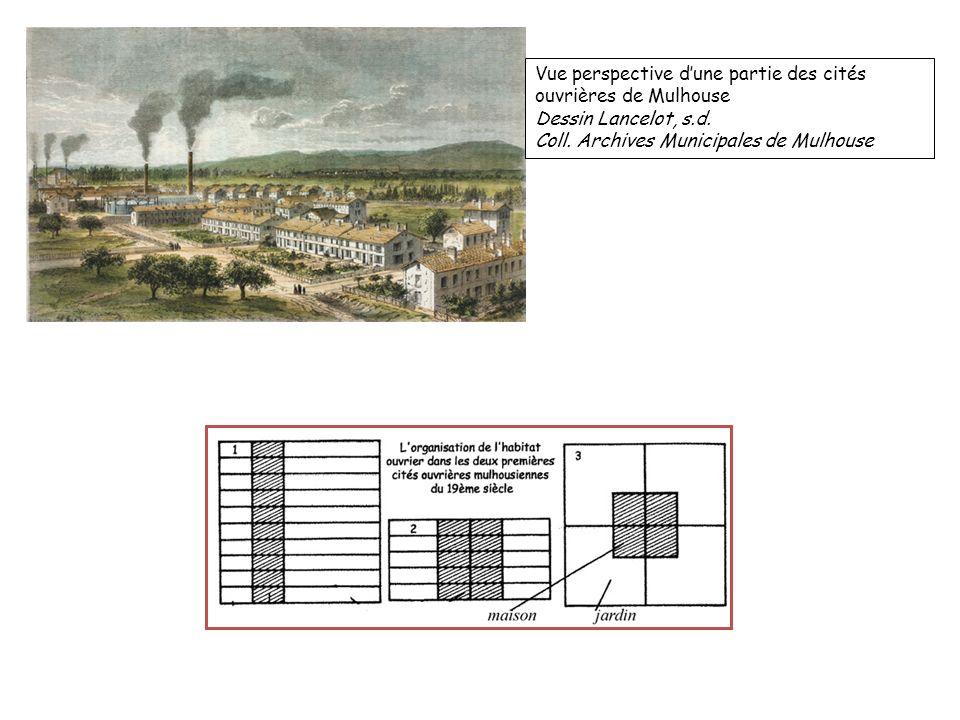 Vue perspective dune partie des cités ouvrières de Mulhouse Dessin Lancelot, s.d. Coll. Archives Municipales de Mulhouse