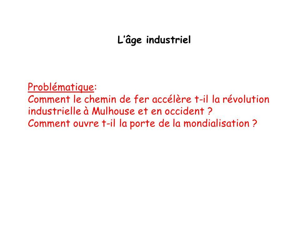 Lâge industriel Problématique: Comment le chemin de fer accélère t-il la révolution industrielle à Mulhouse et en occident ? Comment ouvre t-il la por