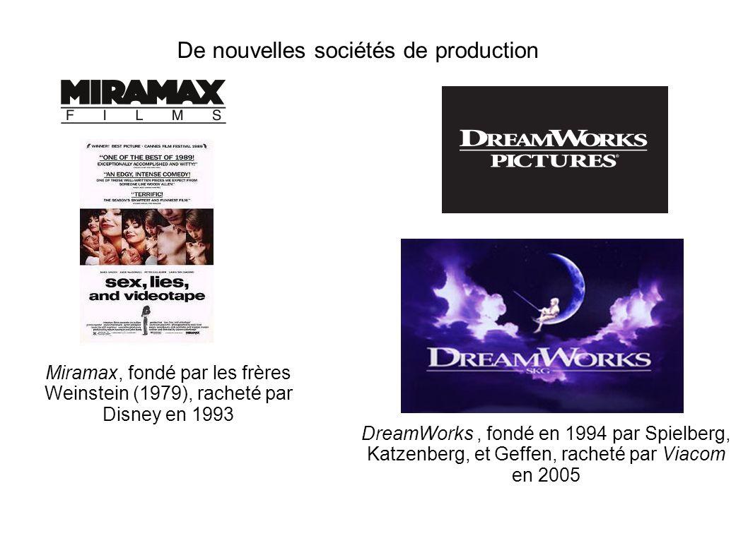 De nouvelles sociétés de production Miramax, fondé par les frères Weinstein (1979), racheté par Disney en 1993 DreamWorks, fondé en 1994 par Spielberg, Katzenberg, et Geffen, racheté par Viacom en 2005