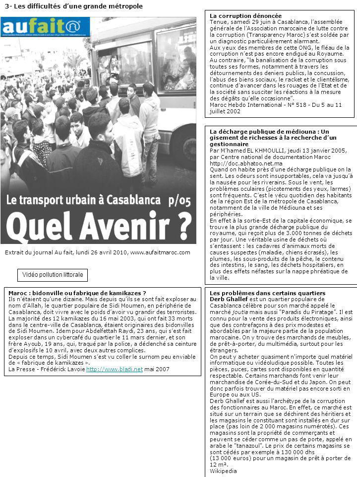 Extrait du journal Au fait, lundi 26 avril 2010, www.aufaitmaroc.com 3- Les difficultés dune grande métropole La corruption dénoncée Tenue, samedi 29