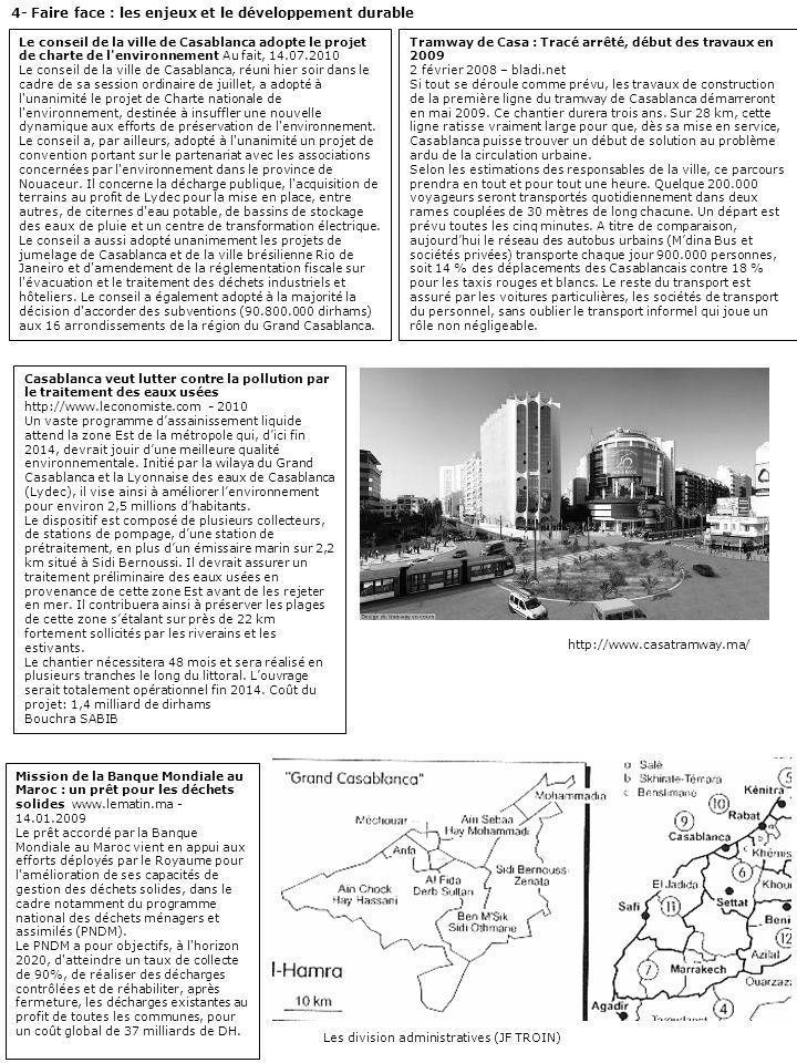 4- Faire face : les enjeux et le développement durable Le conseil de la ville de Casablanca adopte le projet de charte de l'environnement Au fait, 14.
