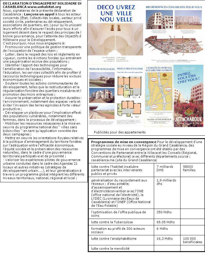 Programmes de mise en convergence Pour le développement dune stratégie sociale au niveau de la Région du Grand Casablanca, des programmes de mise en c