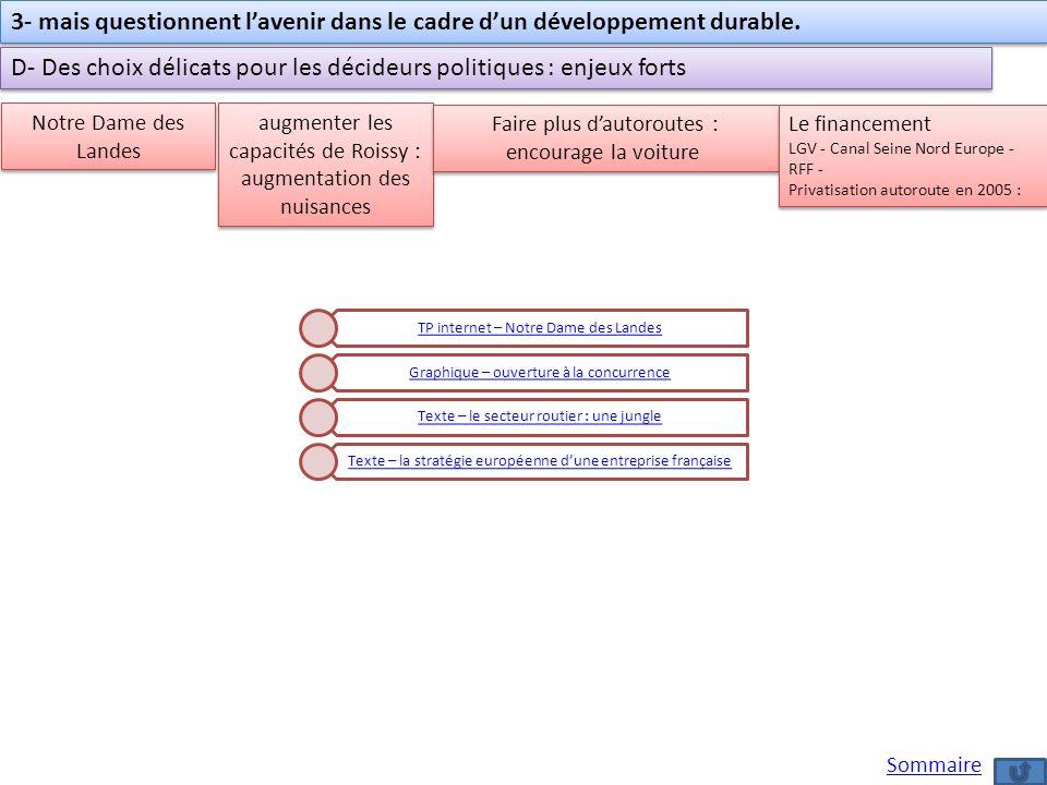 3- mais questionnent lavenir dans le cadre dun développement durable. D- Des choix délicats pour les décideurs politiques : enjeux forts Notre Dame de