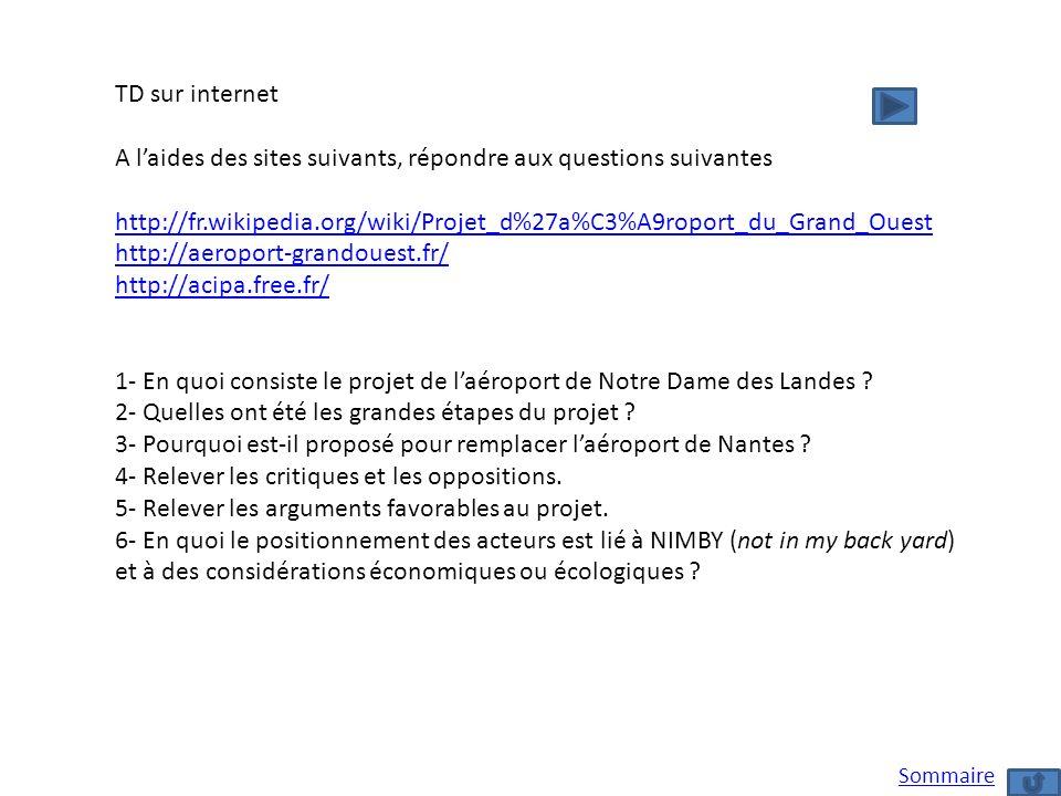TD sur internet A laides des sites suivants, répondre aux questions suivantes http://fr.wikipedia.org/wiki/Projet_d%27a%C3%A9roport_du_Grand_Ouest htt
