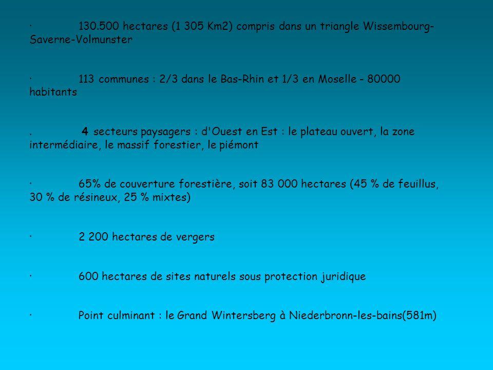 ·130.500 hectares (1 305 Km2) compris dans un triangle Wissembourg- Saverne-Volmunster ·113 communes : 2/3 dans le Bas-Rhin et 1/3 en Moselle - 80000 habitants.