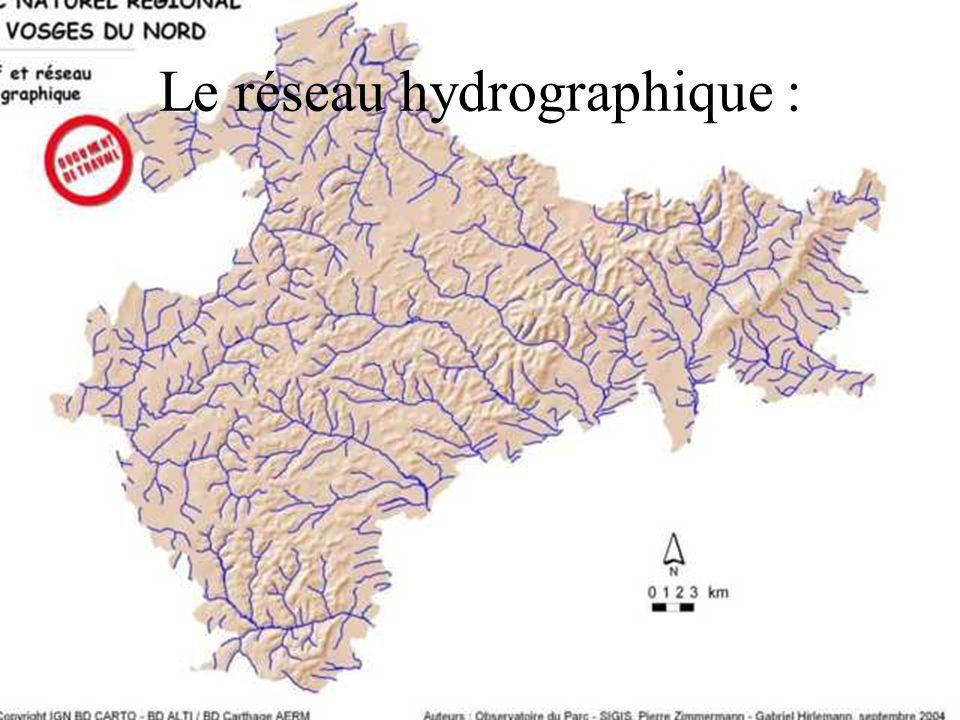 Le massif est fortement entaillé par des vallées parallèles de direction NW – SE essentiellement, et dont les débouchés forment les grands pôles urbains (Saverne, Ingwiller, Niederbronn, Wissembourg) Ces vallées témoignent du rôle de réservoir deau du massif gréseux vosgien : les précipitations infiltrées par le massif et le plateau lorrain se déversent sous forme de sources.