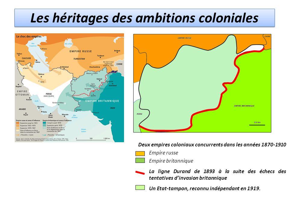 Les héritages des ambitions coloniales Deux empires coloniaux concurrents dans les années 1870-1910 Empire russe Empire britannique La ligne Durand de 1893 à la suite des échecs des tentatives dinvasion britannique Un Etat-tampon, reconnu indépendant en 1919.