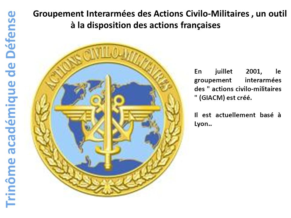 Trinôme académique de Défense Le GIACM, depuis sa création, est intervenu en Afghanistan, en Côte-dIvoire, au Kosovo, au Tchad, au Tadjikistan, en Indonésie, en Haïti, au Liban, au Togo, au Cameroun et au Bénin.