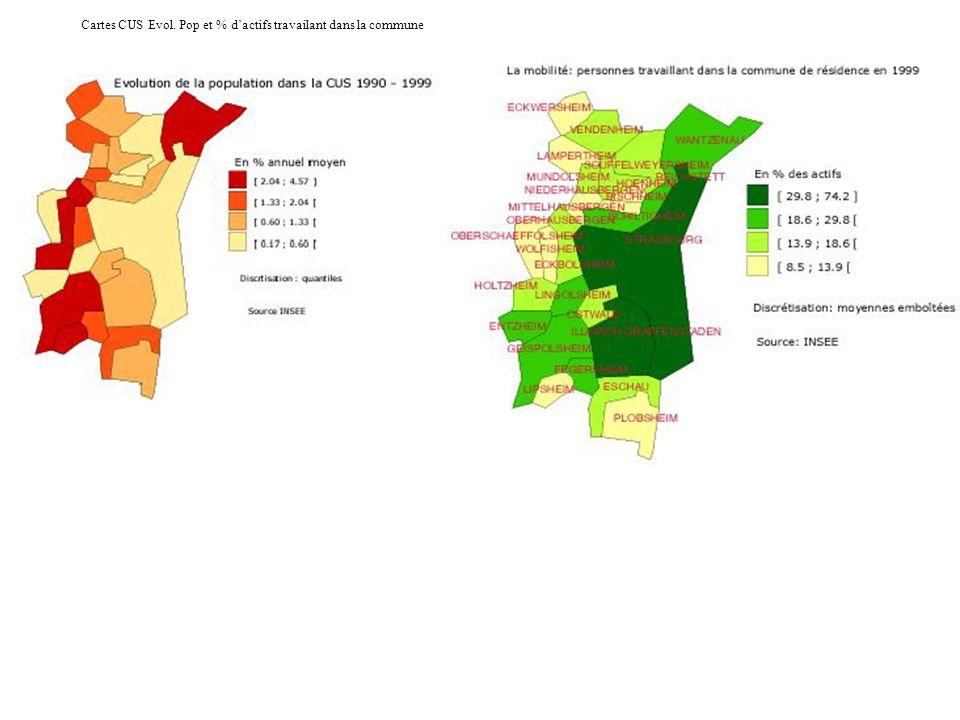 Cartes CUS Evol. Pop et % dactifs travailant dans la commune