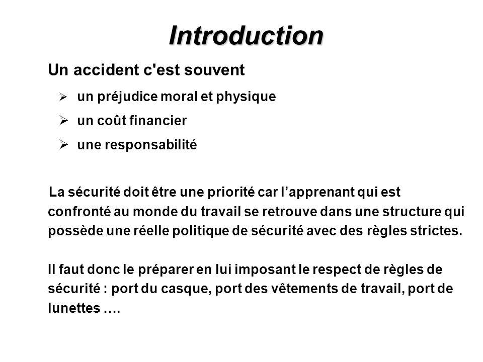Introduction Un accident c'est souvent un préjudice moral et physique un coût financier une responsabilité La sécurité doit être une priorité car lapp