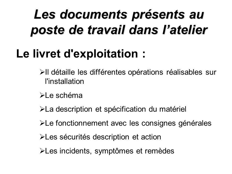 Les documents présents au poste de travail dans latelier Le livret d'exploitation : Il détaille les différentes opérations réalisables sur l'installat