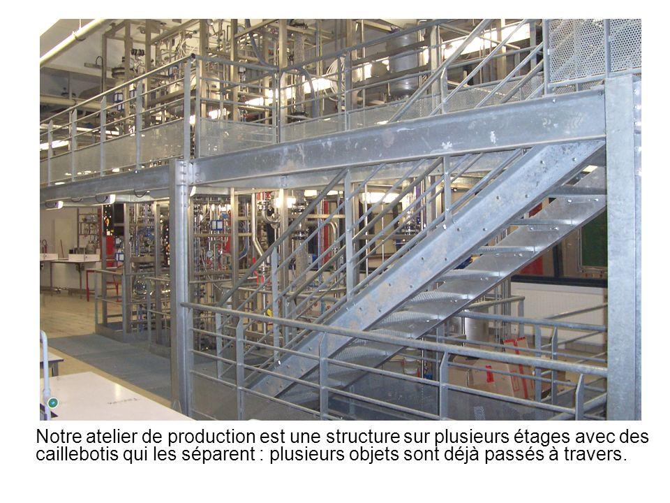 Notre atelier de production est une structure sur plusieurs étages avec des caillebotis qui les séparent : plusieurs objets sont déjà passés à travers