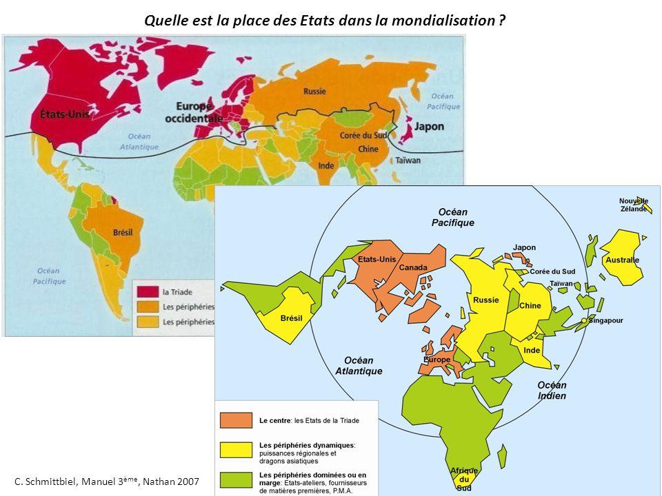 C. Schmittbiel, Manuel 3 ème, Nathan 2007 Quelle est la place des Etats dans la mondialisation ?