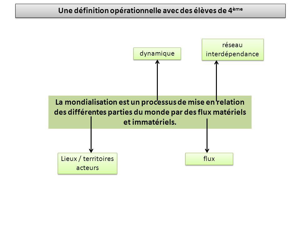 La mondialisation est un processus de mise en relation des différentes parties du monde par des flux matériels et immatériels.