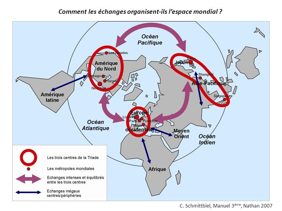C. Schmittbiel, Manuel 3 ème, Nathan 2007 Comment les échanges organisent-ils lespace mondial ?