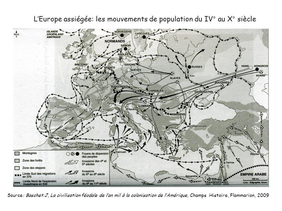 LEurope assiégée: les mouvements de population du IV° au X° siècle Source: Baschet.J, La civilisation féodale de lan mil à la colonisation de lAmériqu