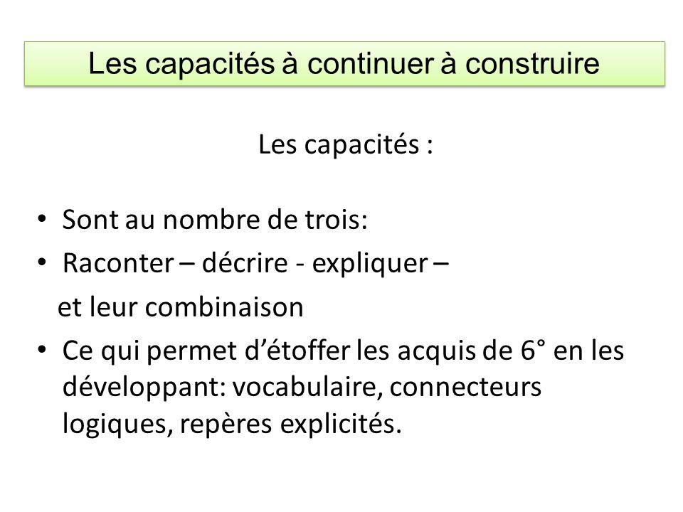 Les capacités : Sont au nombre de trois: Raconter – décrire - expliquer – et leur combinaison Ce qui permet détoffer les acquis de 6° en les développa