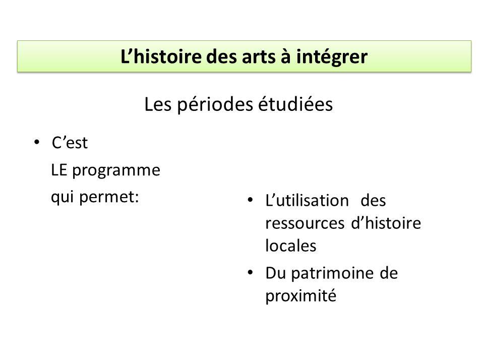 Cest LE programme qui permet: Lutilisation des ressources dhistoire locales Du patrimoine de proximité Les périodes étudiées Lhistoire des arts à inté