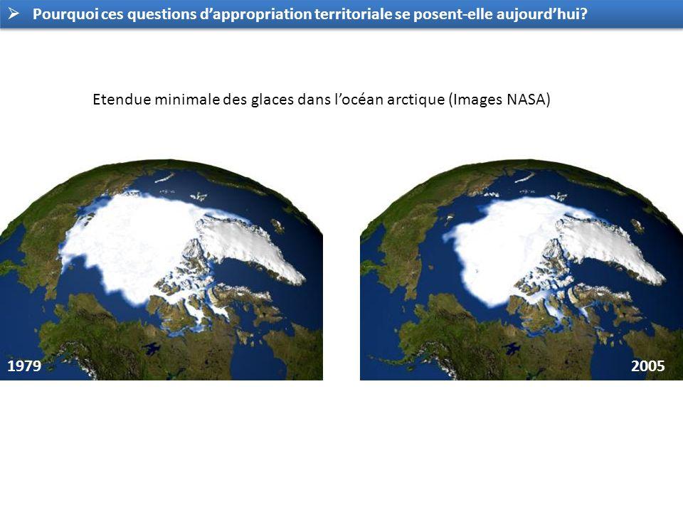 19792005 Etendue minimale des glaces dans locéan arctique (Images NASA) Pourquoi ces questions dappropriation territoriale se posent-elle aujourdhui?