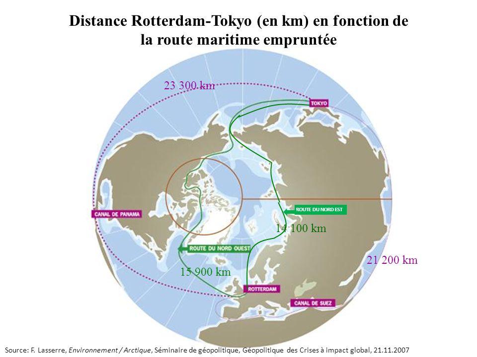 15 900 km 14 100 km 23 300 km 21 200 km Distance Rotterdam-Tokyo (en km) en fonction de la route maritime empruntée ROUTE DU NORD EST Source: F. Lasse