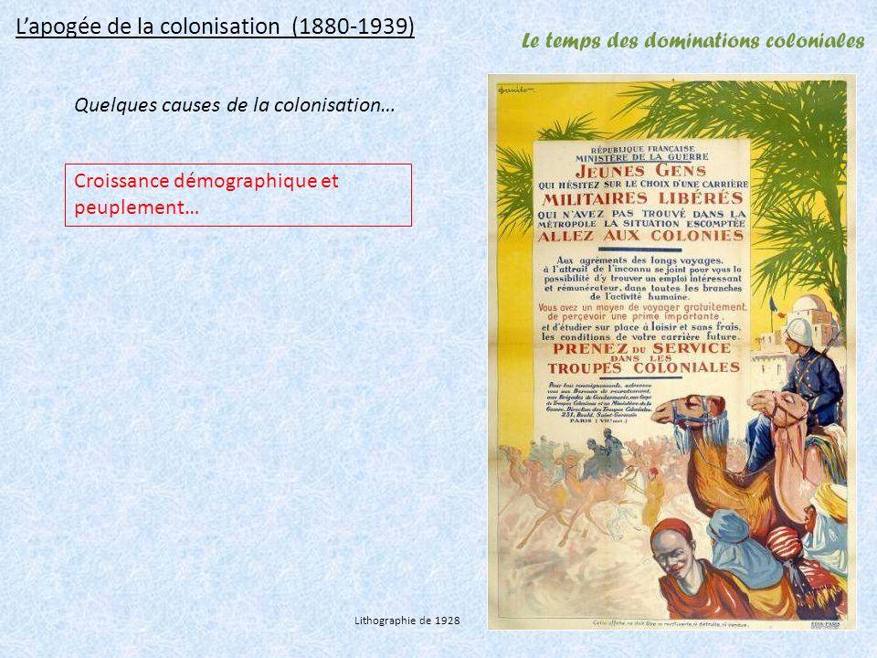 Le temps des dominations coloniales Lapogée de la colonisation (1880-1939) Quelques causes de la colonisation… Croissance démographique et peuplement… Lithographie de 1928