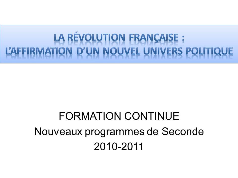 FORMATION CONTINUE Nouveaux programmes de Seconde 2010-2011