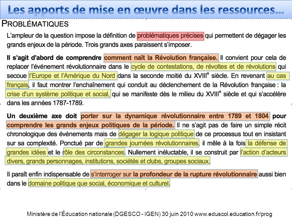 Ministère de lÉducation nationale (DGESCO - IGEN) 30 juin 2010 www.eduscol.education.fr/prog