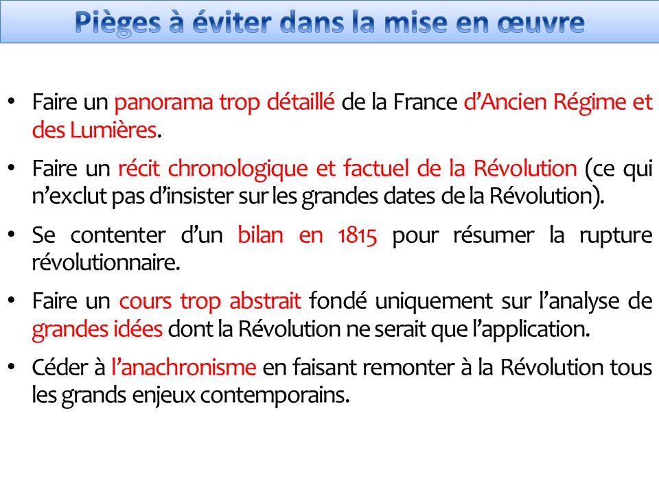 Faire un panorama trop détaillé de la France dAncien Régime et des Lumières.
