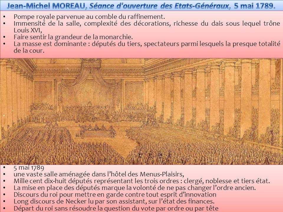 5 mai 1789 une vaste salle aménagée dans lhôtel des Menus-Plaisirs, Mille cent dix-huit députés représentant les trois ordres : clergé, noblesse et tiers état.