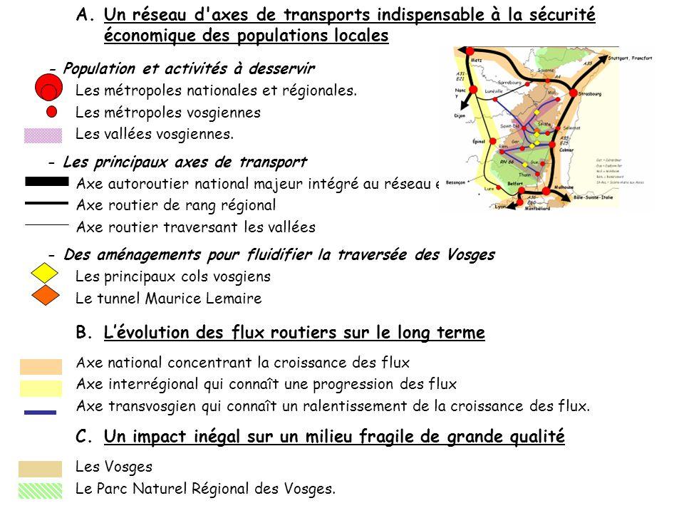 B.Lévolution des flux routiers sur le long terme A xe national concentrant la croissance des flux Axe interrégional qui connaît une progression des fl