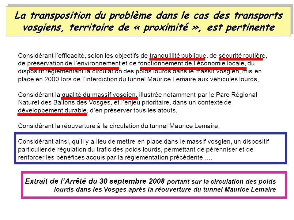 La transposition du problème dans le cas des transports vosgiens, territoire de « proximité », est pertinente Considérant lefficacité, selon les objec