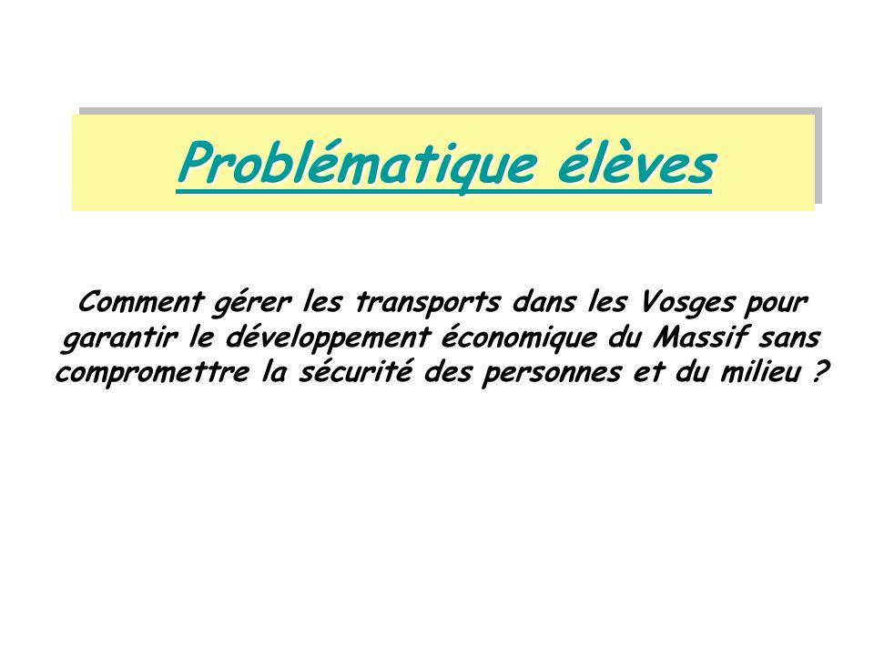 Problématique élèves Problématique élèves Problématique élèves Problématique élèves Comment gérer les transports dans les Vosges pour garantir le déve