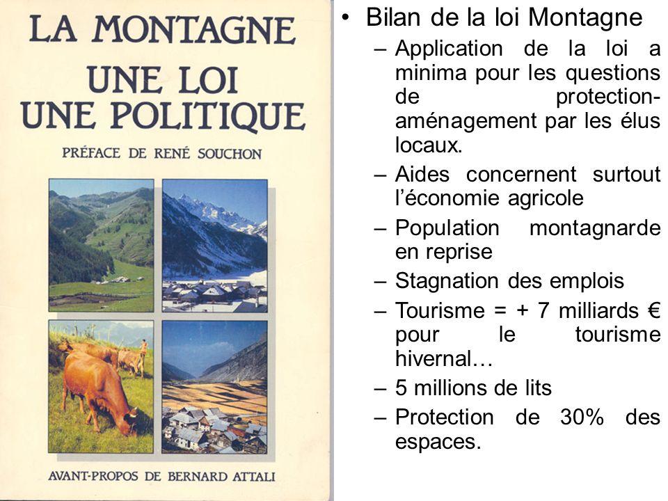 Bilan de la loi Montagne –Application de la loi a minima pour les questions de protection- aménagement par les élus locaux.