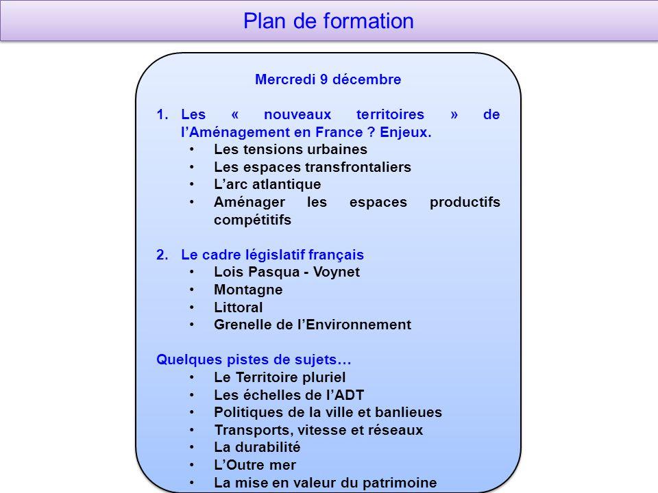 Plan de formation Mercredi 9 décembre 1.Les « nouveaux territoires » de lAménagement en France .