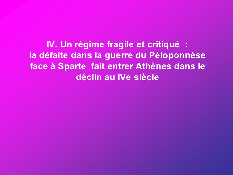 IV. Un régime fragile et critiqué : la défaite dans la guerre du Péloponnèse face à Sparte fait entrer Athènes dans le déclin au IVe siècle