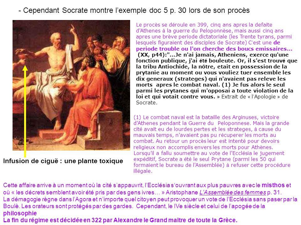 - Cependant Socrate montre lexemple doc 5 p. 30 lors de son procès Le proc è s se d é roule en 399, cinq ans apres la defaite d'Athenes à la guerre du