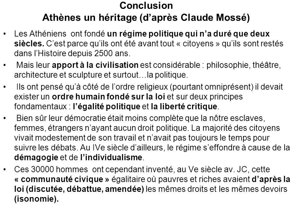 Conclusion Athènes un héritage (daprès Claude Mossé) Les Athéniens ont fondé un régime politique qui na duré que deux siècles. Cest parce quils ont ét