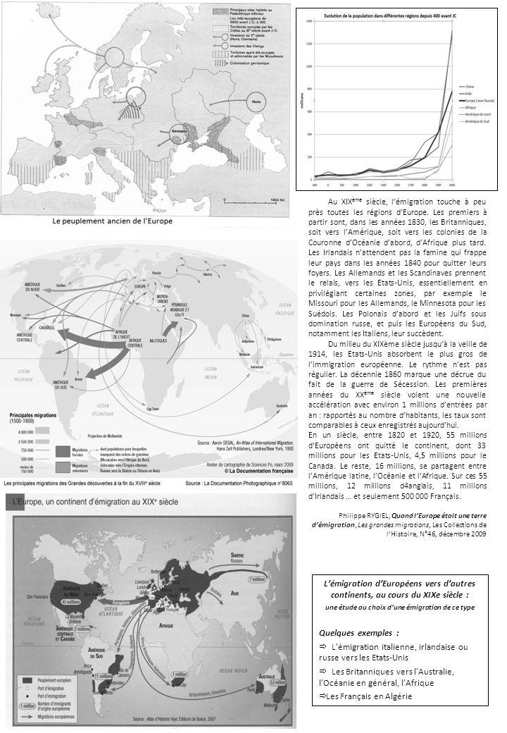 Lémigration dEuropéens vers dautres continents, au cours du XIXe siècle : une étude au choix dune émigration de ce type Quelques exemples : Lémigratio