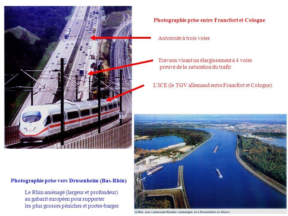 LICE (le TGV allemand entre Francfort et Cologne) Photographie prise entre Francfort et Cologne Autoroute à trois voies Travaux visant un élargissemen