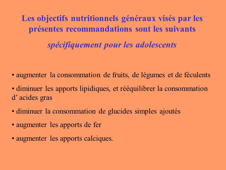 Les objectifs nutritionnels généraux visés par les présentes recommandations sont les suivants spécifiquement pour les adolescents augmenter la consom
