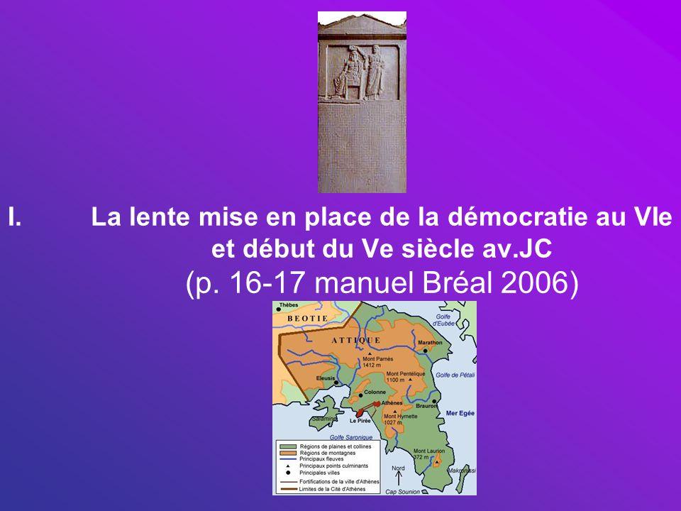 I.La lente mise en place de la démocratie au VIe et début du Ve siècle av.JC (p. 16-17 manuel Bréal 2006)