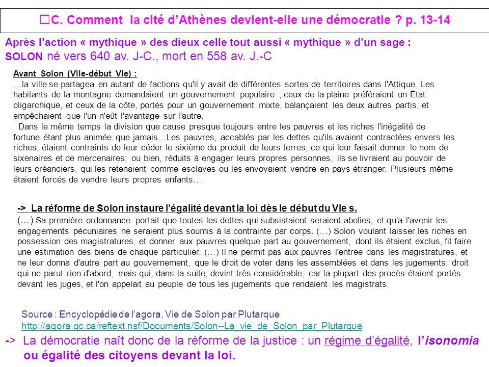 C. Comment la cité dAthènes devient-elle une démocratie ? p. 13-14 Avant Solon (VIIe-début VIe) : …la ville se partagea en autant de factions qu'il y