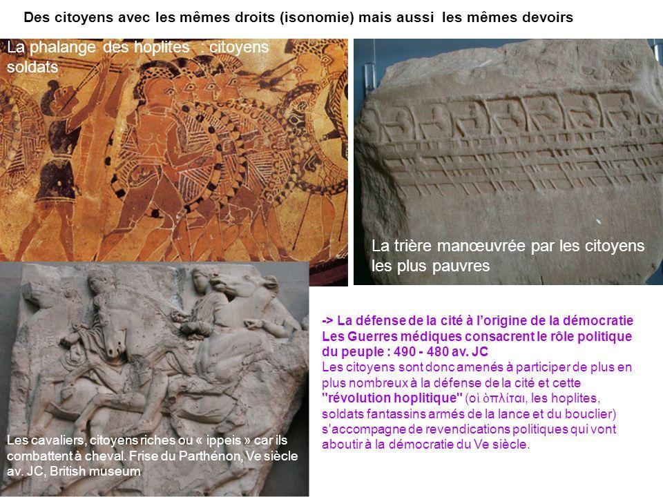 Des citoyens avec les mêmes droits (isonomie) mais aussi les mêmes devoirs La phalange des hoplites : citoyens soldats La trière manœuvrée par les cit