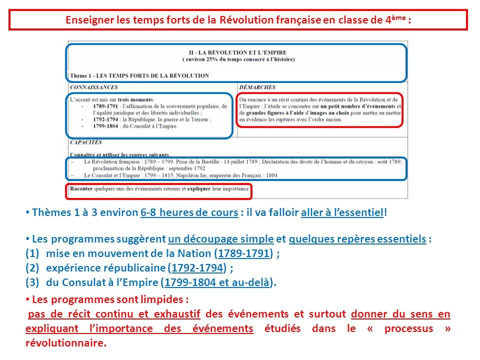 Enseigner les temps forts de la Révolution française en classe de 4 ème : Thèmes 1 à 3 environ 6-8 heures de cours : il va falloir aller à lessentiel!