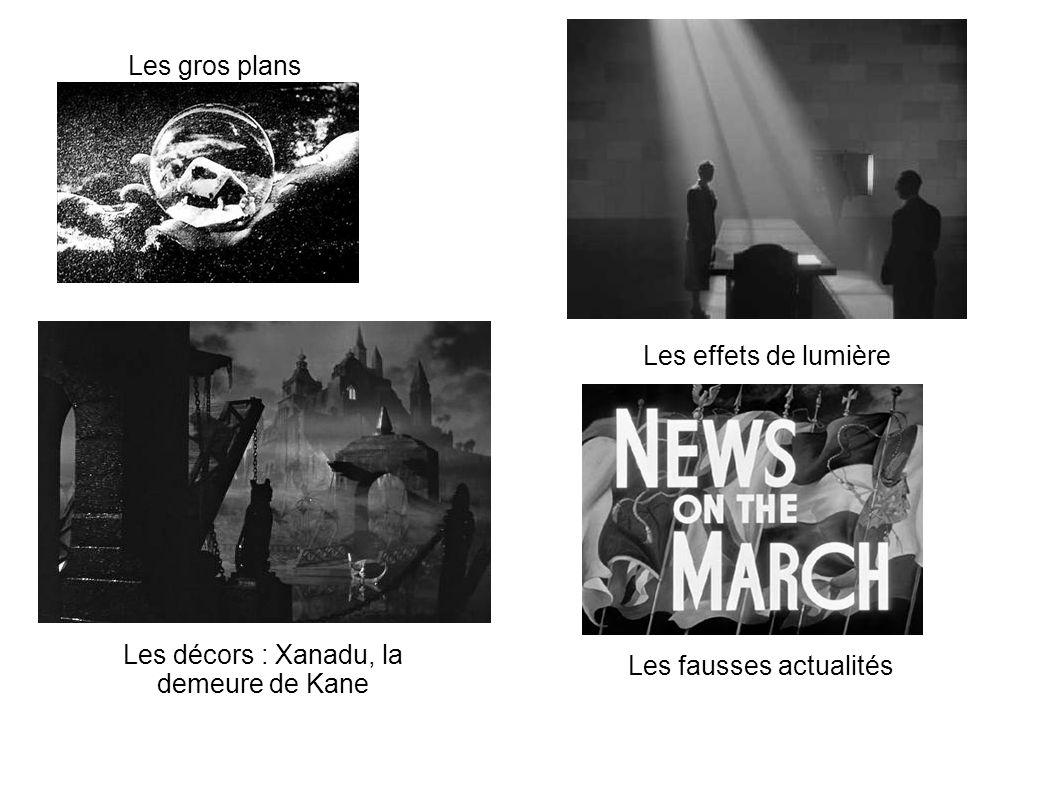 Les gros plans Les effets de lumière Les décors : Xanadu, la demeure de Kane Les fausses actualités