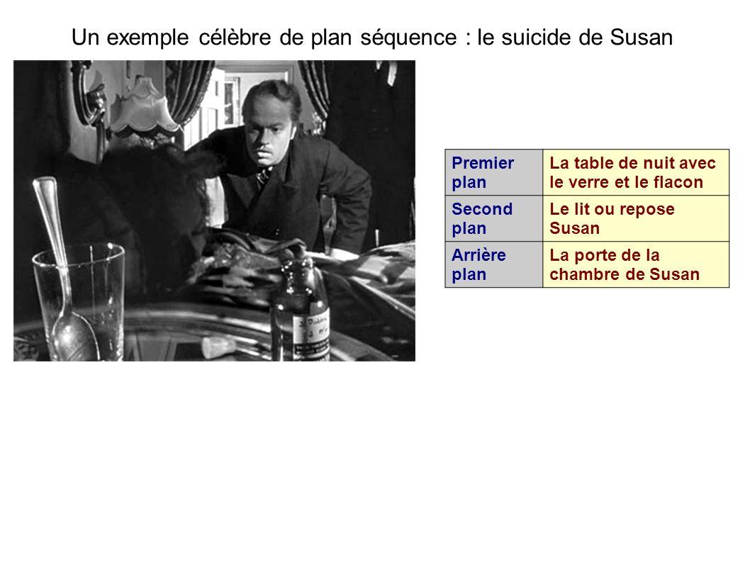 Un exemple célèbre de plan séquence : le suicide de Susan Premier plan La table de nuit avec le verre et le flacon Second plan Le lit ou repose Susan