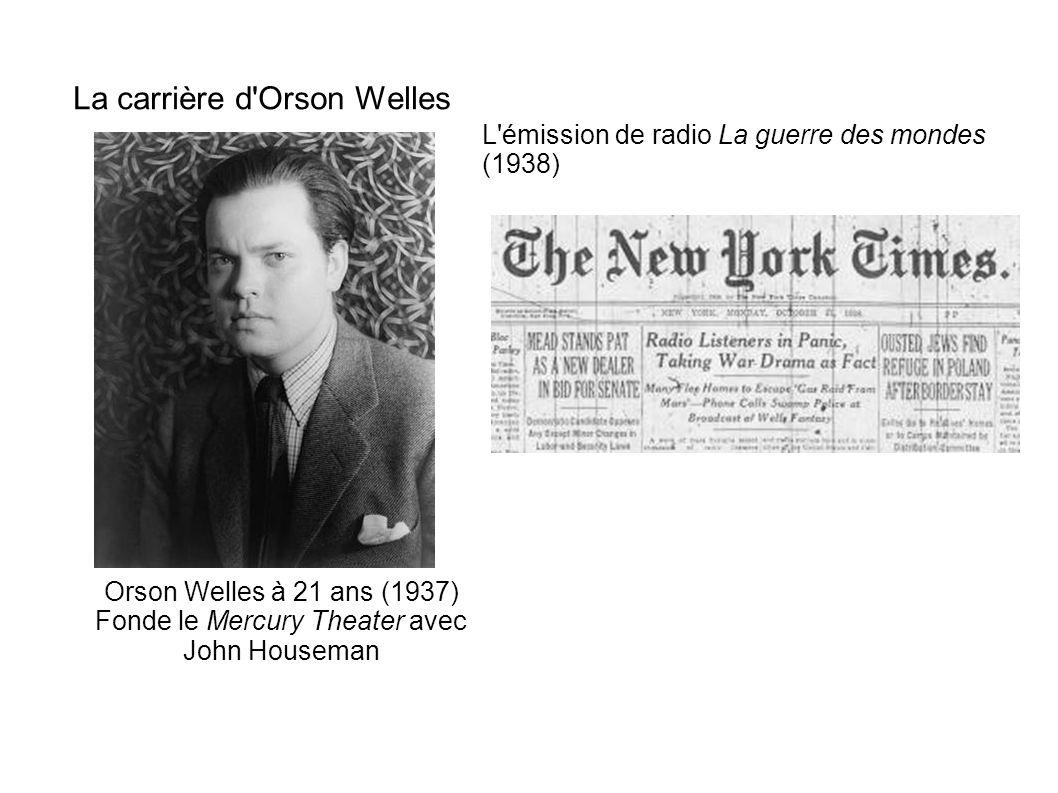 La carrière d'Orson Welles Orson Welles à 21 ans (1937) Fonde le Mercury Theater avec John Houseman L'émission de radio La guerre des mondes (1938)